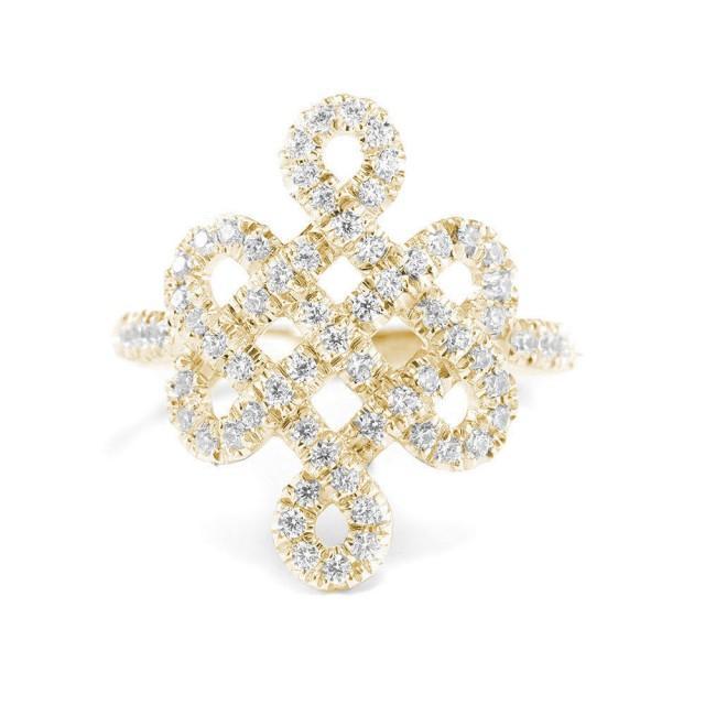 wedding photo - Tibetan endless love Knot Diamond Ring, 14K Gold Wedding Ring, 18K Gold Anniversary Ring, 0,5 Ct Diamond Ring, Wedding Jewelry - $1080.00 USD