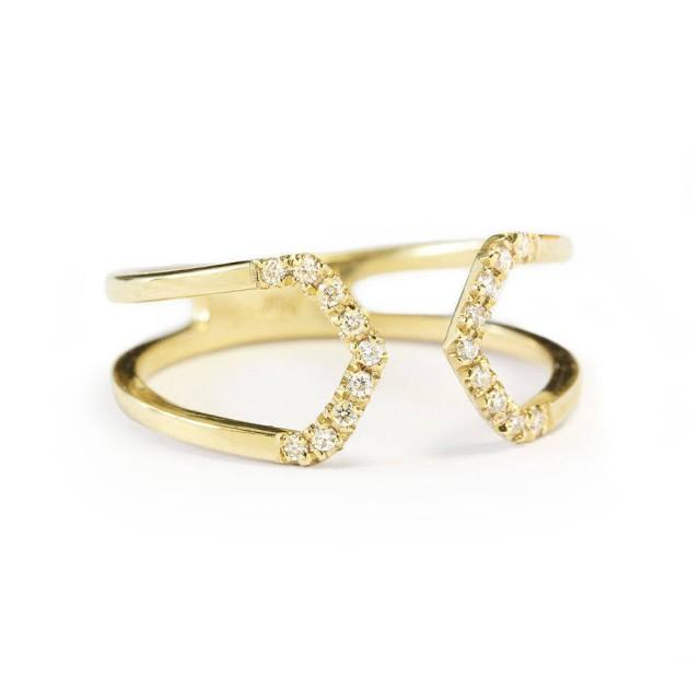 wedding photo - Open Taper gold and diamond unique wedding ring - Cuff Ring 18K Yellow Gold - $470.00 USD