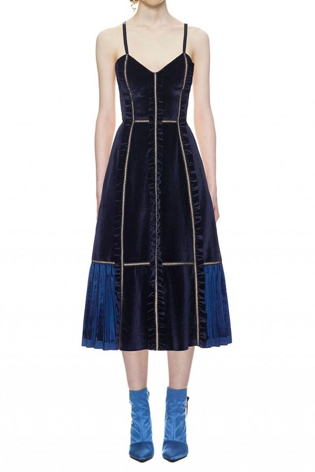 wedding photo - Self Portrait Velvet Panelled Midi Dress In Midnight Blue