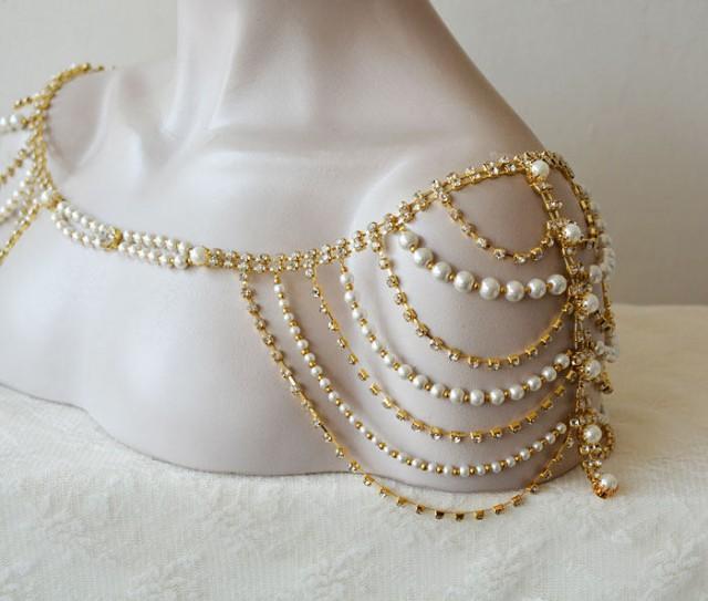 wedding photo - Wedding Dress Gold Shoulder, Wedding Shoulder Jewelry, Gold Shoulder Necklace, Wedding Dress Accessory - $120.00 USD