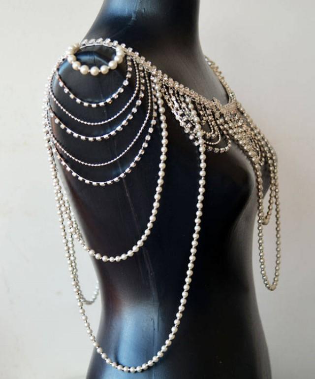 wedding photo - Silver Shoulder Necklace, Pearl Bridal Shoulder Jewelry, Shoulder Jewelry, Wedding Shoulder Jewelry, Bride Shoulder Jewelry - $189.00 USD
