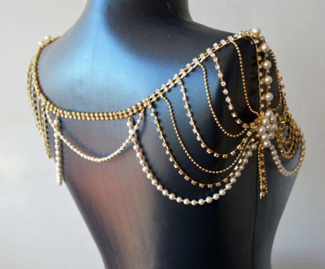 wedding photo - Shoulder Necklace, Bridal Shoulder Jewelry, Shoulder Jewelry, Wedding Shoulder Jewelry, Bride Shoulder Jewelry, Rhinestone and Pearl - $120.00 USD