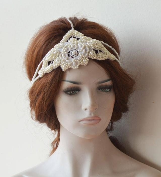 wedding photo - Wedding Pearl Headband, İvory Pearl Headpiece, Wedding Pearl Headpieces, Pearl headband for Wedding, Pearl Hair Jewelry, Bridal Accessories - $89.00 USD