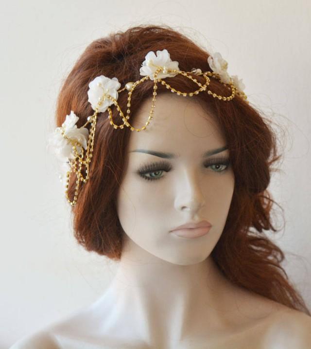 wedding photo - Gold Wedding Hair Vine, Gold Bridal Head Piece, Flower Hair Vine, Wedding Headband, Hair Jewelry, Hair Accessory - $59.00 USD