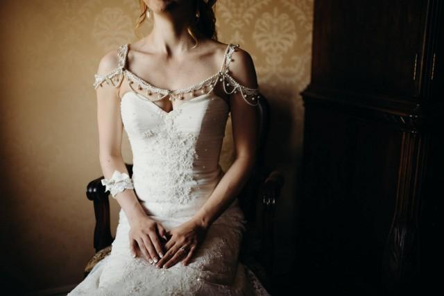 wedding photo - Lace Dress Shoulder Necklace, Bridal Shoulder Necklace, Wedding Shoulder Jewelry, Wedding Dress Shoulder, Wedding Dress Accessory - $119.00 USD