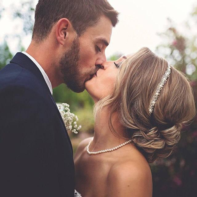 wedding photo - Wedding headband, Bridal Headband, Bridal Hair Accessory, Rhinestone and Pearl headband, Wedding hair Accessory - $42.00 USD