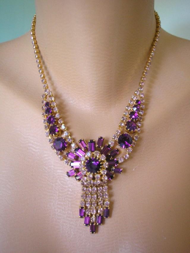 wedding photo - Vintage Purple Rhinestone Art Deco Style Necklace