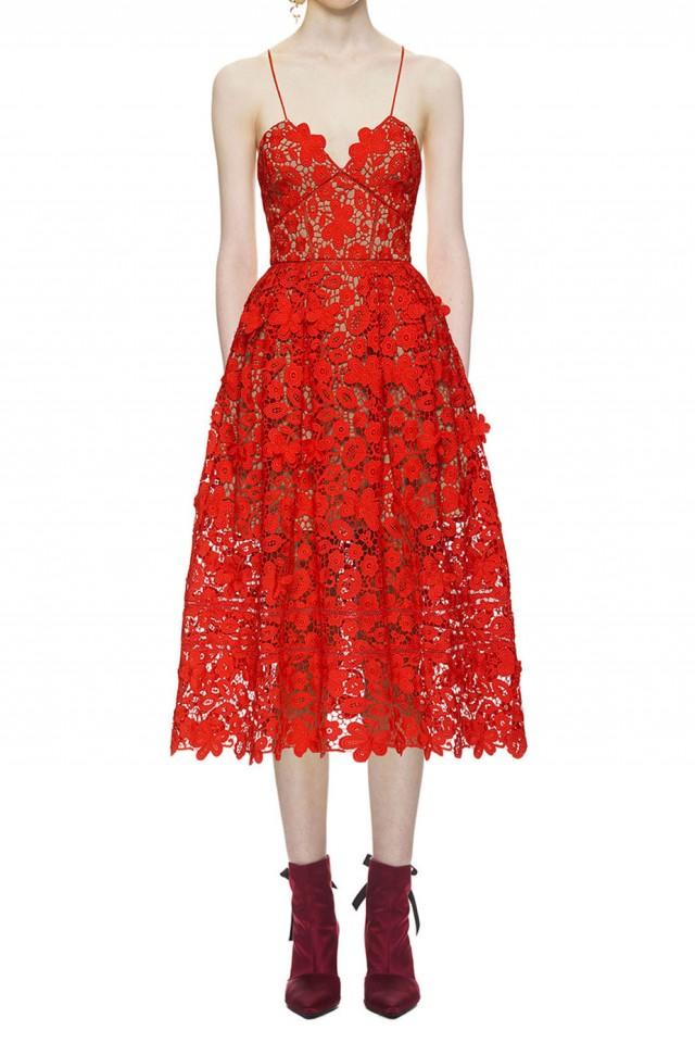 wedding photo - Self Portrait 3d Floral Azaelea Lace Dress In Tomato Red