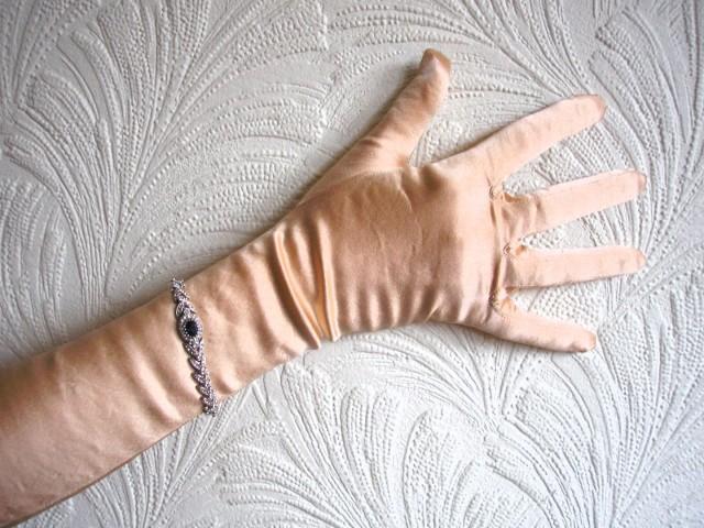 wedding photo - Long Satin Opera Gloves