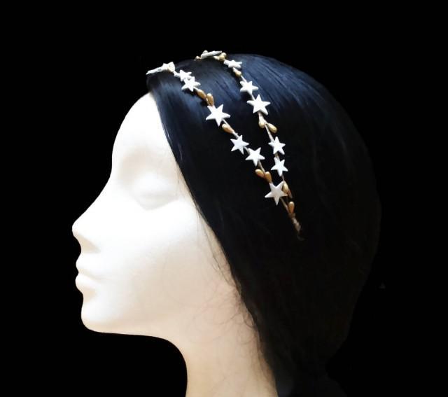 wedding photo - Star headband. Bridal headband. Wedding headband. Bridesmaid headband. Star headpiece. Star crown. White and gold headband. Double headband. - $34.50 EUR