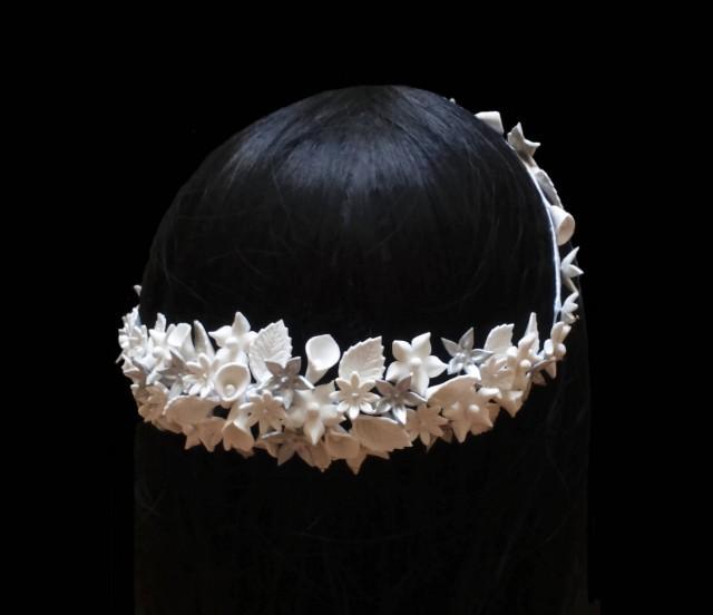 wedding photo - Bridal flower crown. Bridal white headpiece. Wedding crown. Floral headpiece. Bridal hair wreath. Porcelain flower crown. Bridesmaid crown. - $82.90 EUR