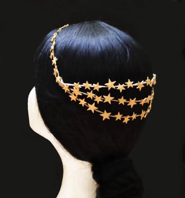 wedding photo - Gold star bridal crown. Wedding headpiece. Gold wedding crown. Bride hairstyle. Bride crown. Bridal accessory. Vintage bride. Bridal wreath - $60.25 EUR