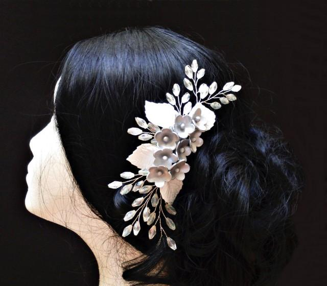 wedding photo - Bridal hair comb. Bridal headpiece. Wedding comb. Bride floral headpiece. Bridal wreath. Porcelain flower comb. Bridesmaid comb. Hair wreath - $38.25 EUR