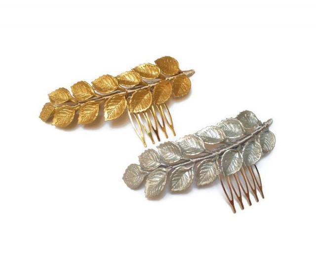 wedding photo - Bridal hair vine. Gold leaf hair comb. Wedding hair piece. Grecian headpiece. Gold vine headpiece. Porcelain headpiece. Bridesmaid leaf comb - $17.80 EUR