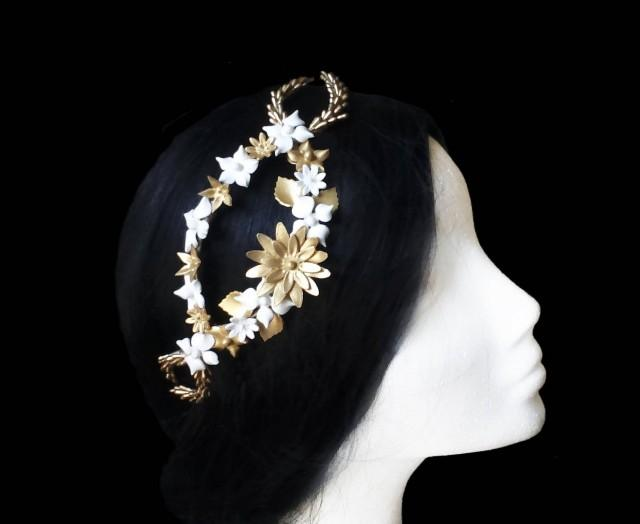 wedding photo - Wedding flower tiara. Bridal flower crown. Bridal hair vine. Gold and white wedding headpiece. Bridal tiara. Porcelain headpiece. Bridesmaid - $55.25 EUR