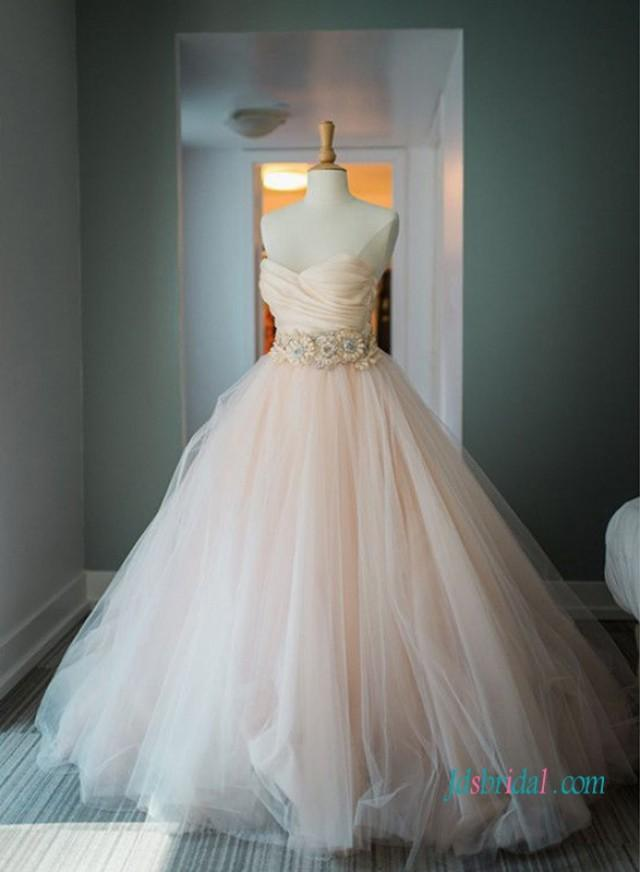 wedding photo - Classic blush pink tulle ball gown wedding dress