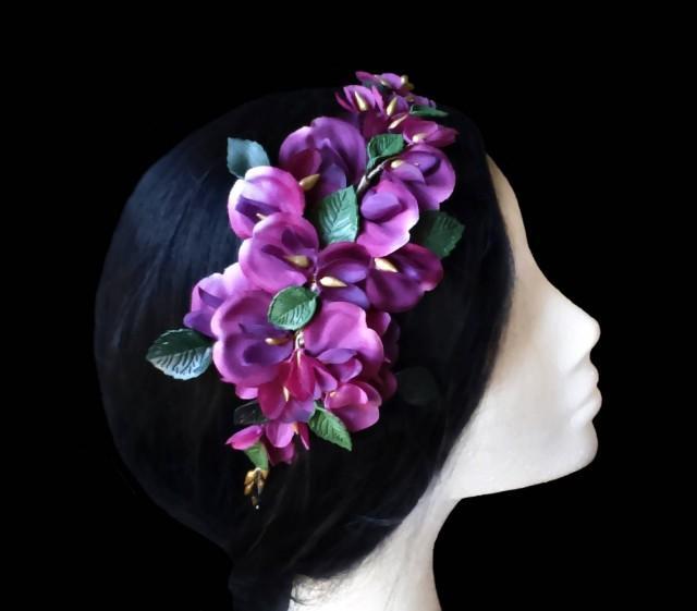 wedding photo - Flower comb. Bridal comb. Wedding comb. Purple flower comb. Orchid comb. Flower headpiece. Orchid headpiece. Orchid comb. Bridal headpiece. - $46.90 EUR