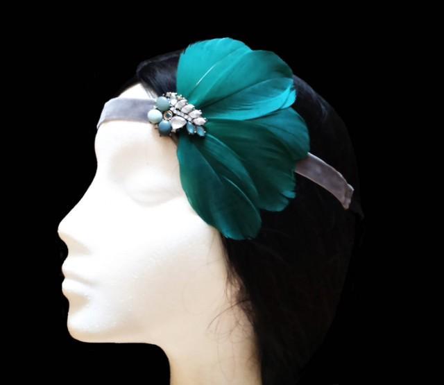 wedding photo - 1920s Gatsby headband. Great gatsby headband. 1920s flapper headband. Green feather headpiece. Bridal headpiece. Bridesmaid headpiece. - $23.75 EUR