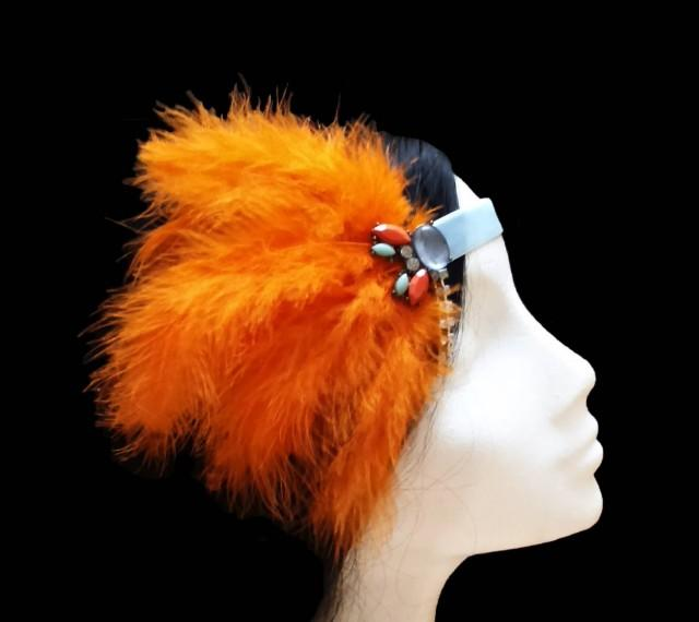wedding photo - 1920s Gatsby headband. Great gatsby headband. 1920s flapper headband. Orange feather headpiece. Bridal headpiece. Bridesmaid headpiece. - $24.20 EUR