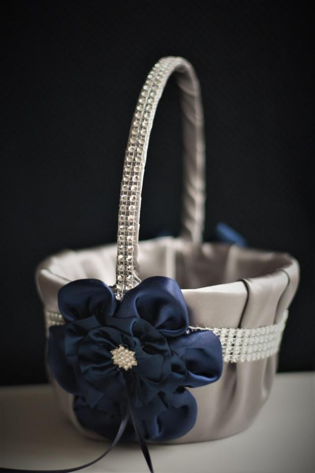 wedding photo - Flower Girl Basket Navy Wedding Basket Navy Gray Wedding Basket Gray Flower Girl Navy Basket Pillow Set Navy Petal Basket Ring Bearer Pillow - $28.00 USD