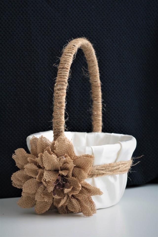 wedding photo - Rustic Wedding Basket / Rustic Flower Girl Basket / Shabby Chic Basket / Burlap Wedding Basket Pillow Set / Rustic Ring Bearer Pillow - $37.00 USD