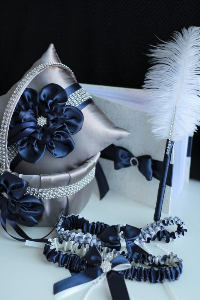 wedding photo - Navy Wedding Pillow / Navy Wedding Basket / Navy Garter Set / Navy Guest Book with Pen / Navy Gray Flower Girl Basket / Navy Blue Bearer - $28.00 USD