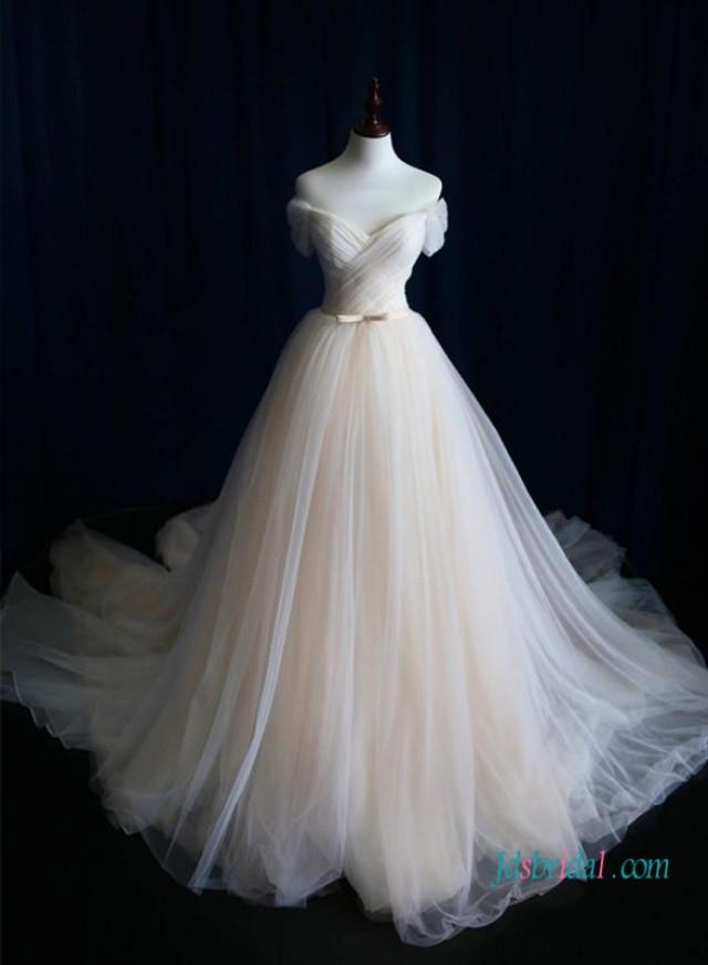 wedding photo - H1019 Champagne colored vintage soft tulle princess ball gown