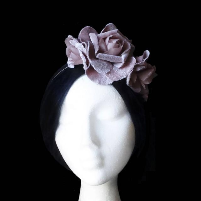 wedding photo - Pink bridal flower crown. Wedding flower headpiece. Velvet flower headpiece. Pink flower headband. Bridesmaid crown. Cocktail headpiece. - $40.00 EUR
