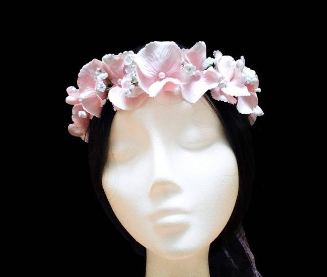 wedding photo - Pink hydrangea flower crown. Flower girl crown. Bridal flower crown. Wedding halo. Small flower crown. Flower girl halo. Pink flower wreath. - $22.10 EUR