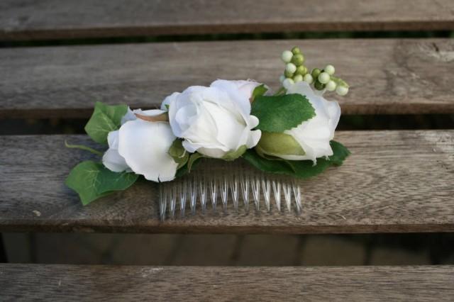 wedding photo - White rose Bridal Floral hair comb Wedding Silk Flower hair piece Greenery Headpiece Bridal flowers Flowergirl hair comb Nature hair piece - $35.00 USD