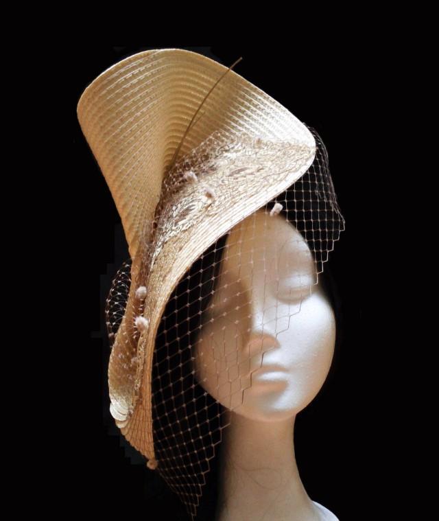 wedding photo - Bridal headpiece. Wedding headpiece. Kentucky derby hat. Couture hat. Wedding accessories. Birdcage veil hat. Gold and brown headpiece. - $65.00 EUR