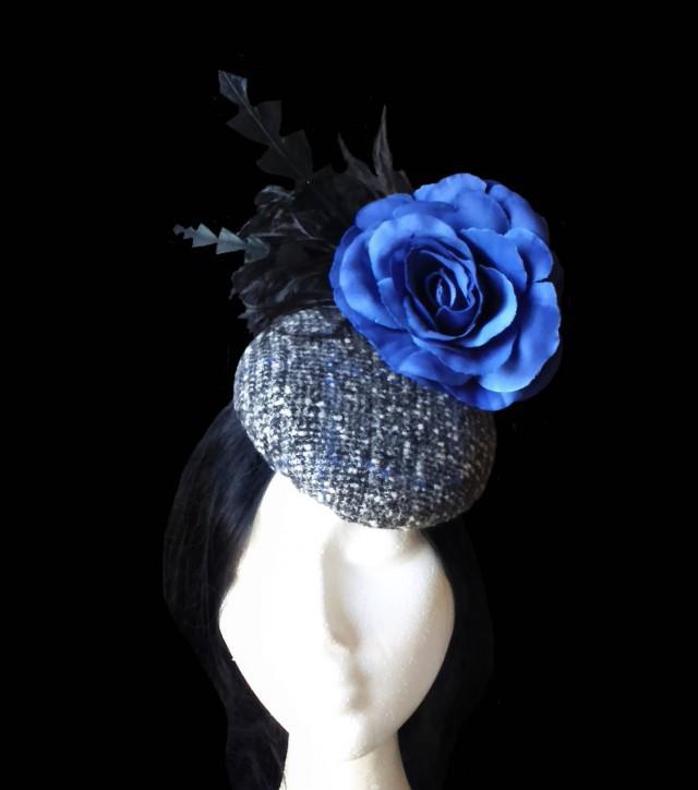 wedding photo - Bridal wedding hat. Tweed cocktail hat. Church hat. Black and blue hat. Flower and feathers fascinator. Race hat. Statement hat. Pillbox hat - $53.45 EUR