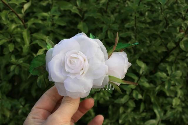 wedding photo - White rose Bridal hair comb Wedding Silk flower Greenery rustic hair comb Winter wife gift Floral Bridal hair piece Blush flower comb - $50.00 USD