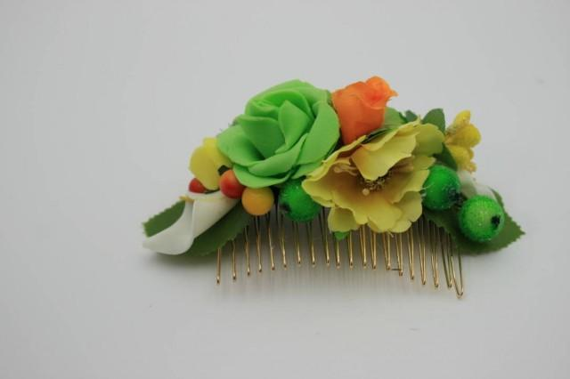 wedding photo - Gift for daughter Flower hair comb Yellow Green Floral comb Bridal hair piece Wedding gold comb Colorful BohoFlower headpiece Gift for her - $18.00 USD