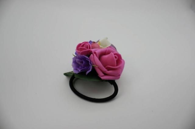 wedding photo - Pink purple rose fancy flower hair tie Floral Bridal hair piece Wedding hair tie Boho hair style Bridesmaid gift Gift for her Hair elastic - $10.00 USD