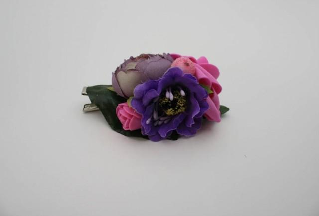 wedding photo - Purple pink fancy Bridal flower hair clip Wedding hair clip Floral hair clip Bridal hair piece Rustic hair piece Gift for her - $12.00 USD