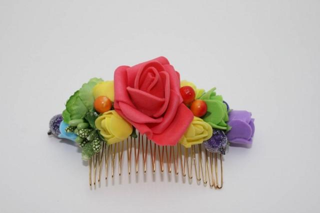 wedding photo - Rainbow flower hair comb Floral hair comb Bridal hair piece Wedding gold comb Colorful Boho hair style Flowergirl headpiece Gift for her - $18.00 USD