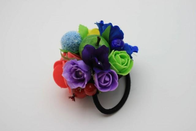 wedding photo - Rainbow flower hair tie Floral hair tie Bridal hair piece Wedding hair tie Boho hair style Bridesmaid gift Colorful headpiece Gift for her - $10.00 USD
