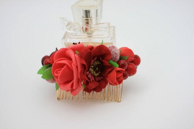 wedding photo - Red rose fancy Bridal flower Wedding hair comb Gift for girlfriend Decorative comb Floral Bridal hair piece Rustic hair piece Gift for her - $18.00 USD