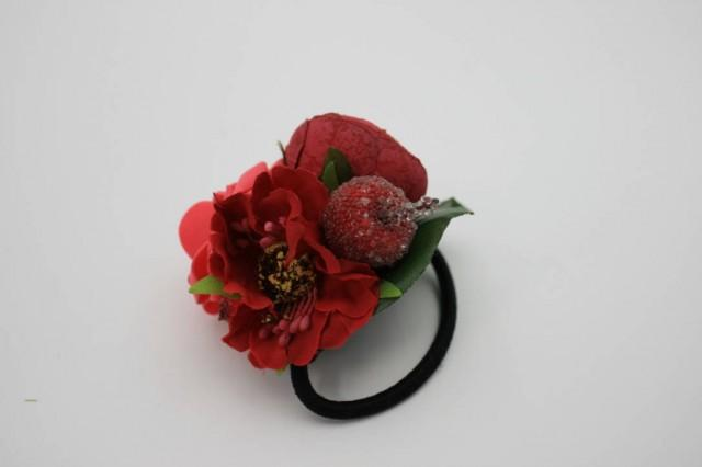 wedding photo - Red rose fancy flower hair tie Floral Bridal hair piece Wedding hair tie Boho hair style Bridesmaid gift Christmas headpiece Gift for her - $10.00 USD