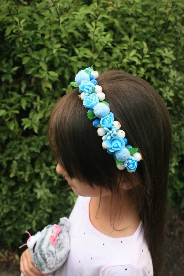 wedding photo - Winter Flower hair crown Floral Headband Wedding Decorative Bridal hair piece Blue hair crown Winter wedding Halo crown Valentine gift - $19.95 USD