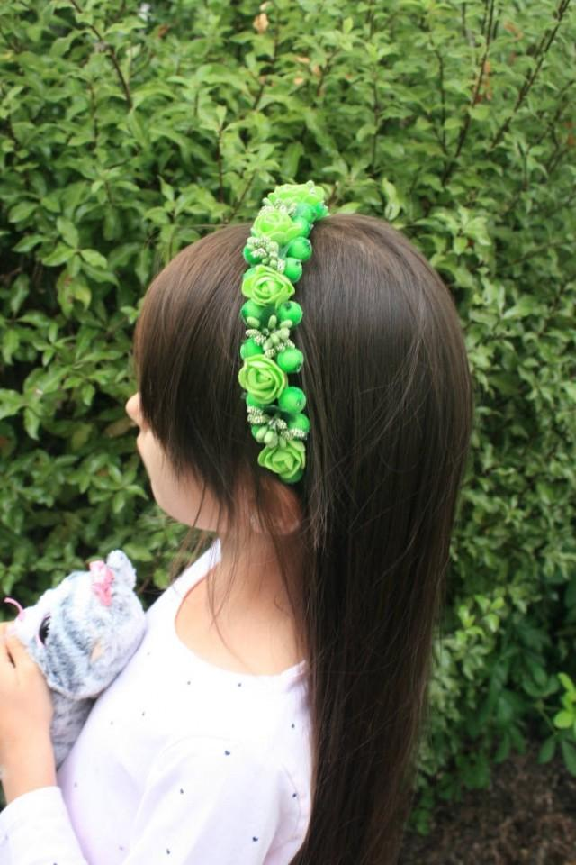wedding photo - Bridal flower hair crown Floral Headband Berries Wedding hair crown Decorative headband Green Bridal hair piece Halo crown Girls hair crown - $19.95 USD