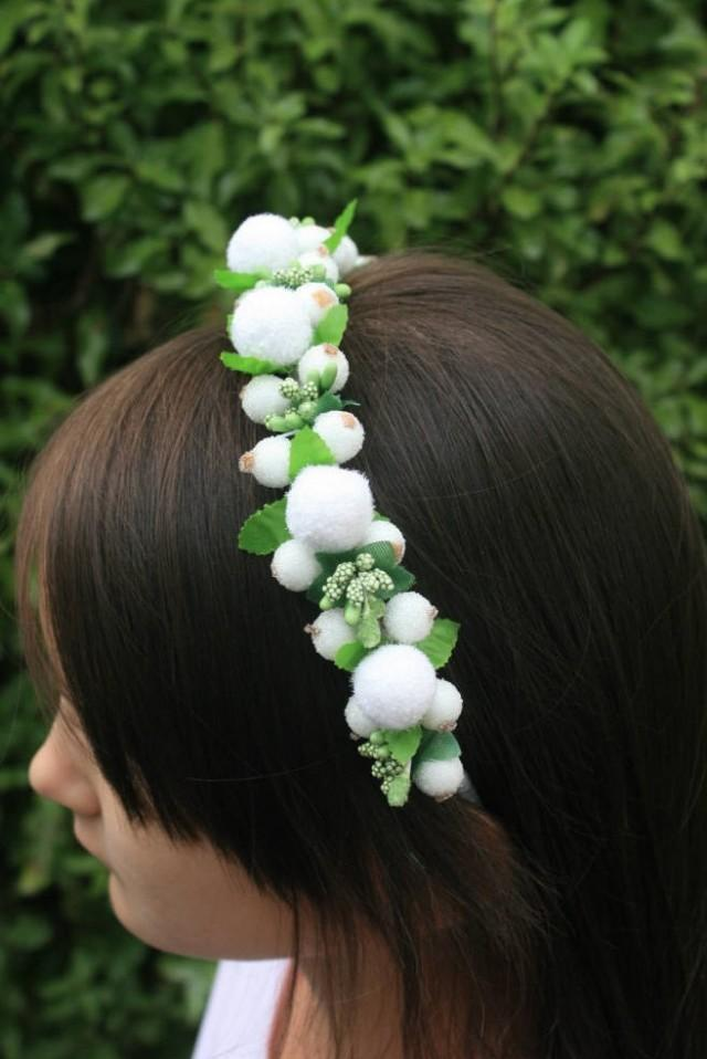 wedding photo - Bridal flower hair crown Floral Headband Wedding headband Decorative headband Bridal hair piece Winter wedding Halo crown Girls hair crown - $19.95 USD