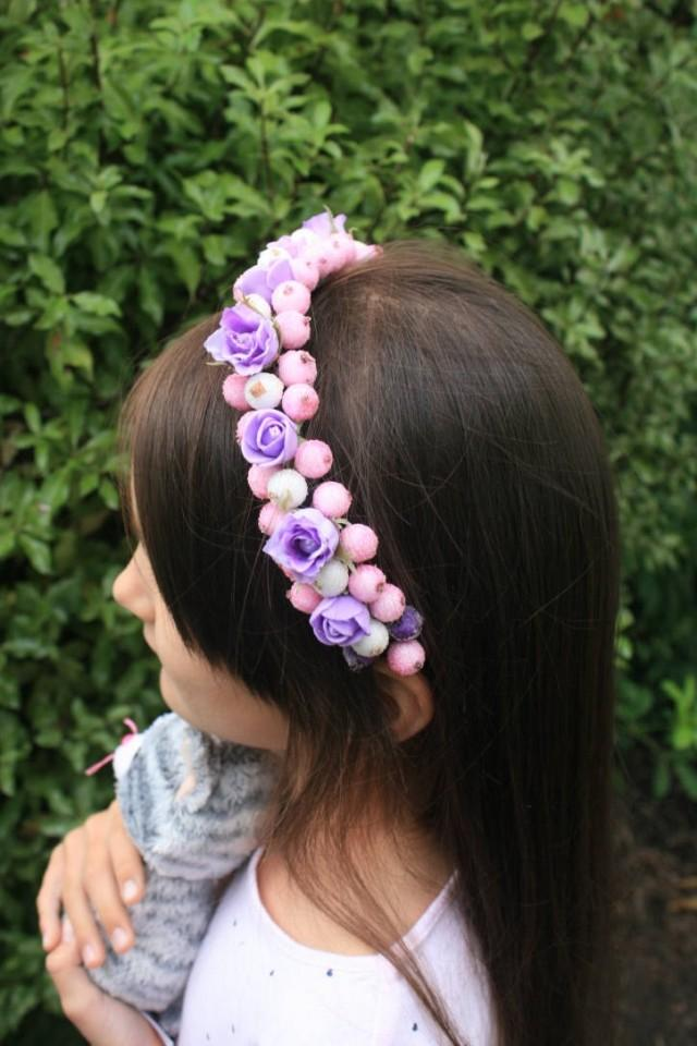 wedding photo - Flower hair crown, Floral Headband, wedding headband, decorative headband, bridal headpiece, pink purple crown, winter wedding, halo crown - $19.95 USD