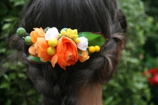 wedding photo - Orange Bridal flower hair comb Wedding hair comb Decorative comb Floral hair comb Bridal hair piece Bridal hair comb Christmas Gift - $18.00 USD