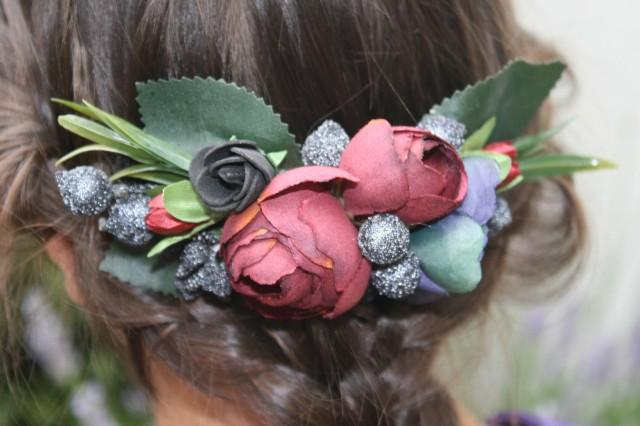 wedding photo - Burgundy Bridal flower hair comb Wedding hair comb Decorative comb Floral hair comb Bridal hair piece Bridal hair comb Christmas Gift - $18.00 USD
