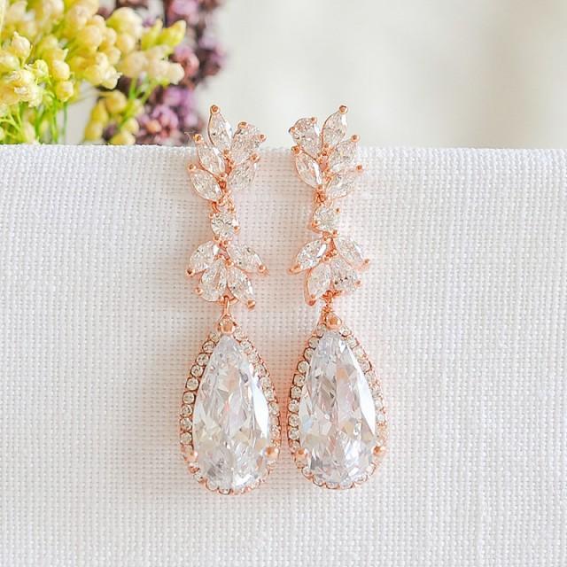 Rose Gold Wedding Earrings, Bridal Earrings, Crystal Leaf Earrings, Teardrop Dangle Earrings, Vintage Style Wedding Bridal Jewelry, CAMRYN