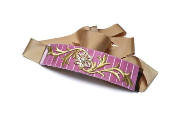 wedding photo - Pink bridal belt. Pink velvet belt. Wedding belt. Bridesmaid belt. Pink and gold belt. Statement belt. Velvet sash. Wedding belt sash. - $45.00 EUR