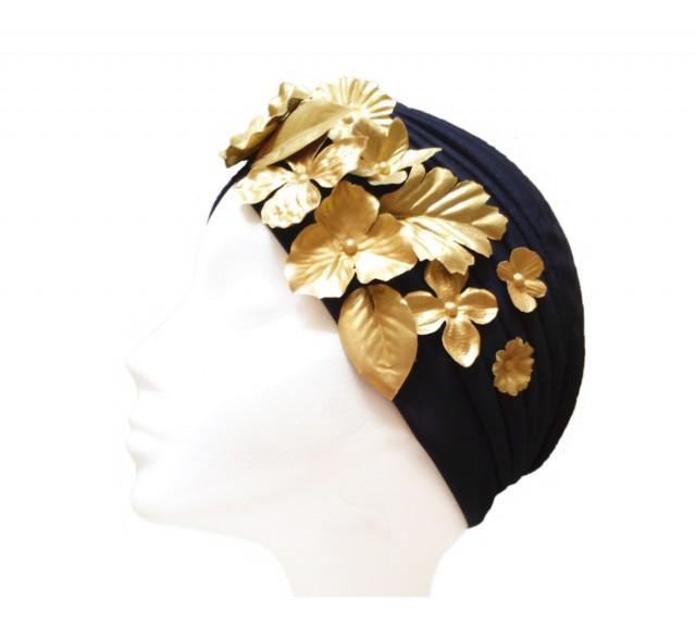 wedding photo - Black turban. Wedding turban. Gatsby headpiece. Bridal turban. Flapper turban. Full black turban. Black and gold turban. Bridesmaid turban. - $26.15 EUR