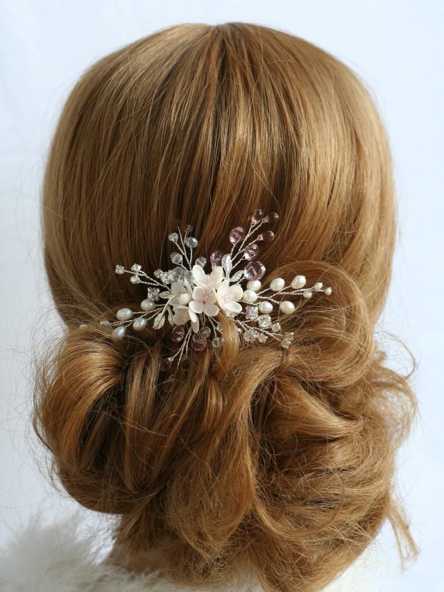wedding photo - Flower hair pin, Bridal hair pin, Wedding hair pin, Bridal hair accessory, Bridal flower pins, Wedding flower pin, Wedding hair accessories - $35.00 USD